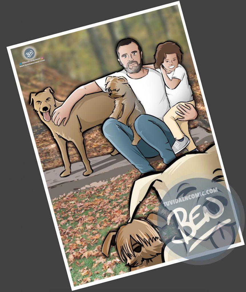 """Composición de ilustraciones - """"Momentos de padre e hija"""" - Regalo por el día del padre - Ilustración - Caricatura personalizada - tuvidaencomic.com - BEN - 2"""