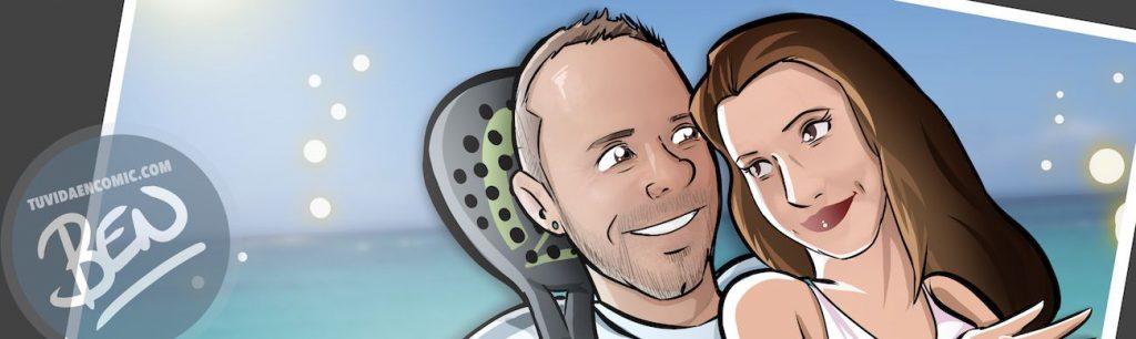 Invitación de boda personalizada y original - Ilustración : Caricatura personalizada - www.tuvidaencomic.com - BEN - 0