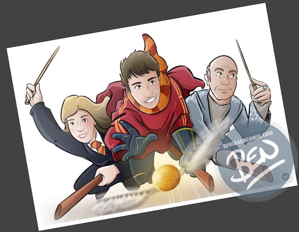 Ilustración personalizada - Regalo perfecto para fans de Harry Potter - Caricatura Personalizada - www.tuvidaencomic.com - BEN - 3