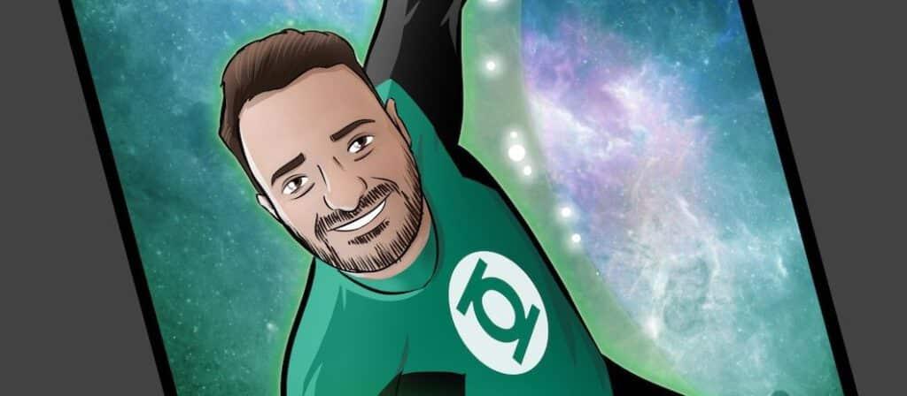 Ilustración personalizada - Regalo perfecto para fans de Linterna Verde - Caricatura Personalizada - www.tuvidaencomic.com - BEN - 0