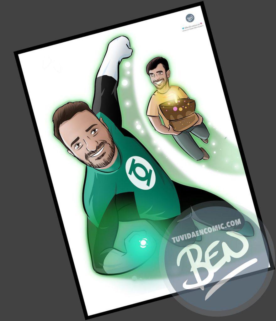 Ilustración personalizada - Regalo perfecto para fans de Linterna Verde - Caricatura Personalizada - www.tuvidaencomic.com - BEN - 2