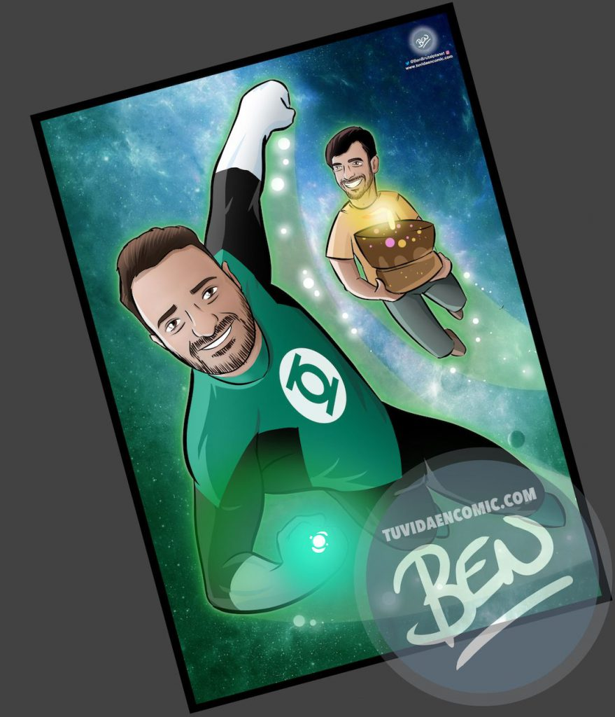 Ilustración personalizada - Regalo perfecto para fans de Linterna Verde - Caricatura Personalizada - www.tuvidaencomic.com - BEN - 3