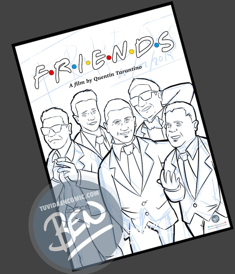 Ilustración grupal personalizada - Amigos a lo Tarantino - Caricatura de grupo Personalizada - www.tuvidaencomic.com - BEN - 2