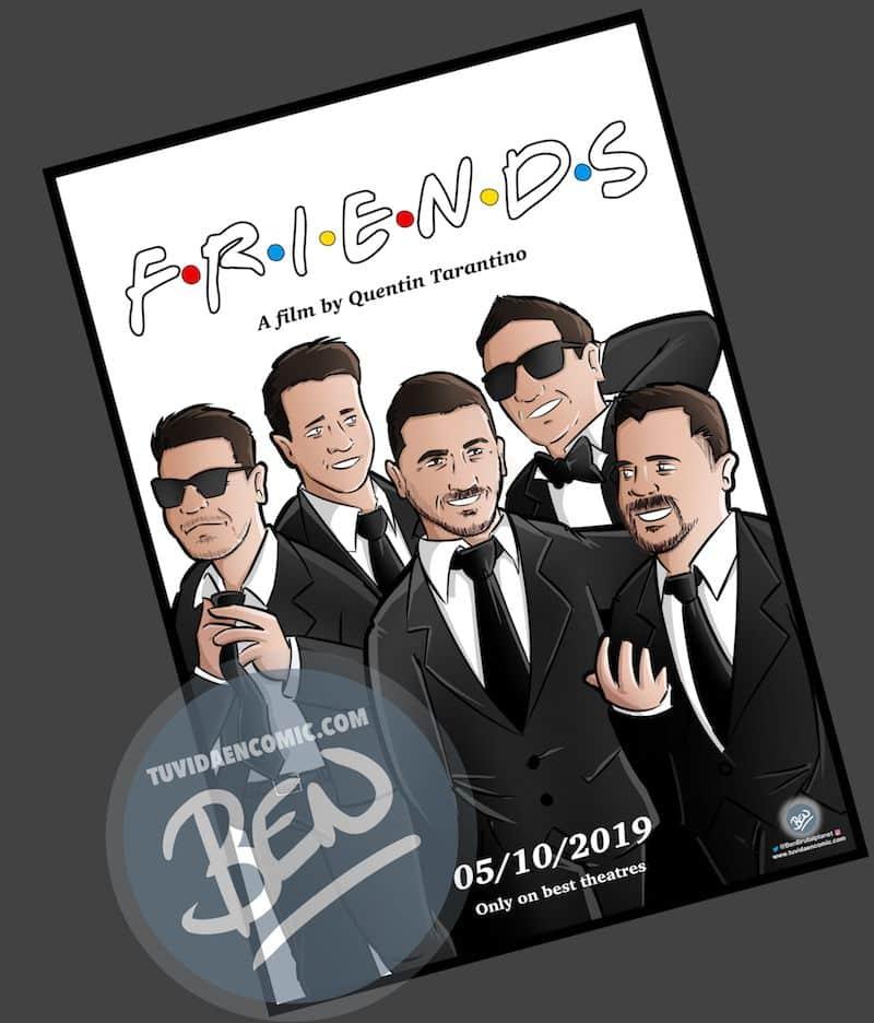 Ilustración grupal personalizada - Amigos a lo Tarantino - Caricatura de grupo Personalizada - www.tuvidaencomic.com - BEN - 3