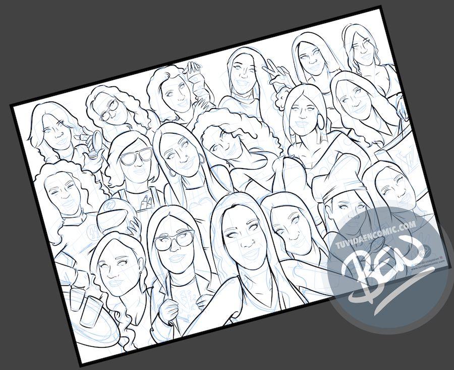Ilustración grupal personalizada - Todas con la novia en su boda- Caricatura de grupo Personalizada - tuvidaencomic.com - BEN - 2