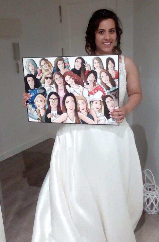 Ilustración grupal personalizada - Todas con la novia en su boda- Caricatura de grupo Personalizada - tuvidaencomic.com - BEN - testimonio