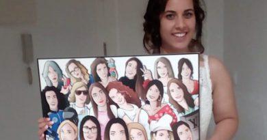 Ilustración grupal personalizada - Todas con la novia en su boda- Caricatura de grupo Personalizada - tuvidaencomic.com - BEN - testimonio (mini)