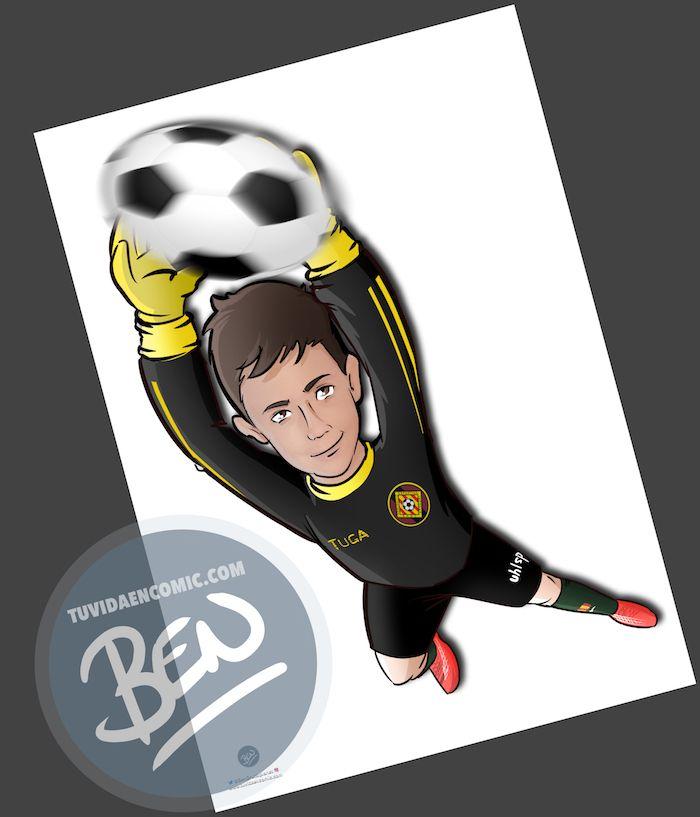 Ilustración infantil - Un regalo para el portero del equipo - Caricatura Personalizada - www.tuvidaencomic.com - BEN - 2
