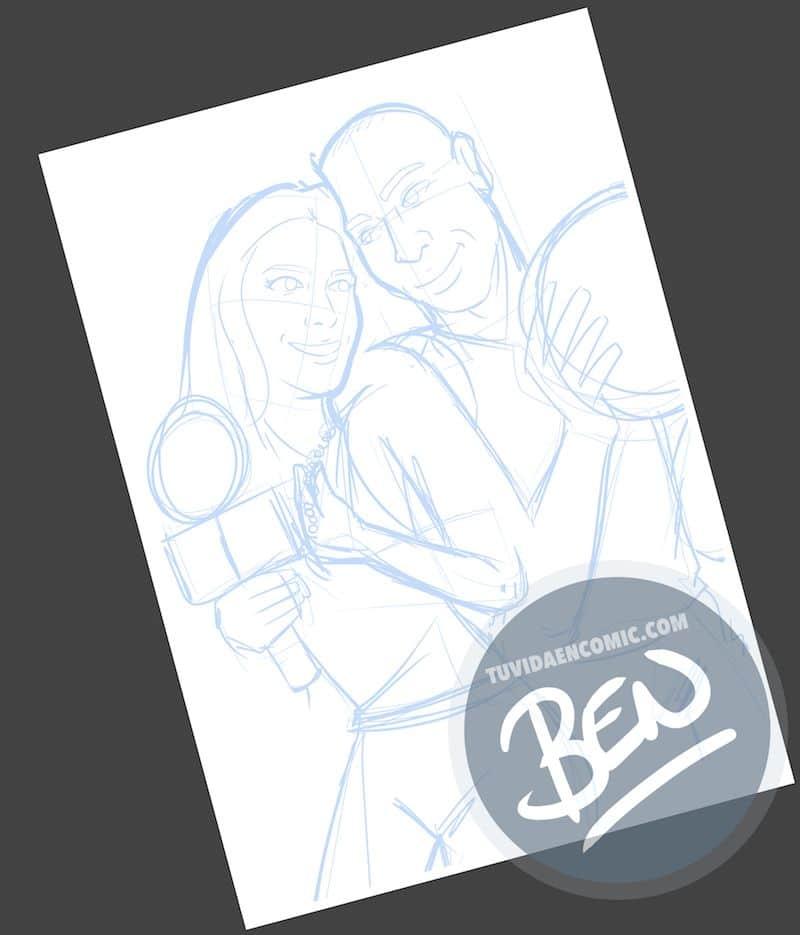 Ilustración personalizada - Televisión, Baloncesto y mucho Amor - Caricatura personalizada - tuvidaencomic.com - BEN - 1