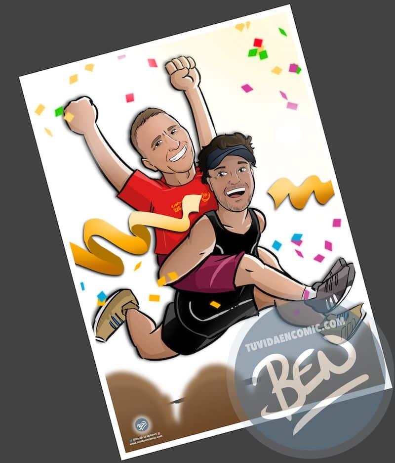 Ilustración personalizada - Amistad y un IronMan contigo a cuestas - Caricatura personalizada - www.tuvidaencomic.com - BEN - 2