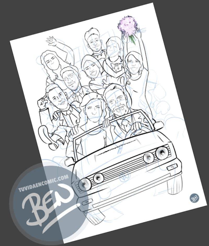 Ilustración grupal personalizada - Nos vamos de boda - Caricatura grupal - tuvidaencomic.com - BEN - 2