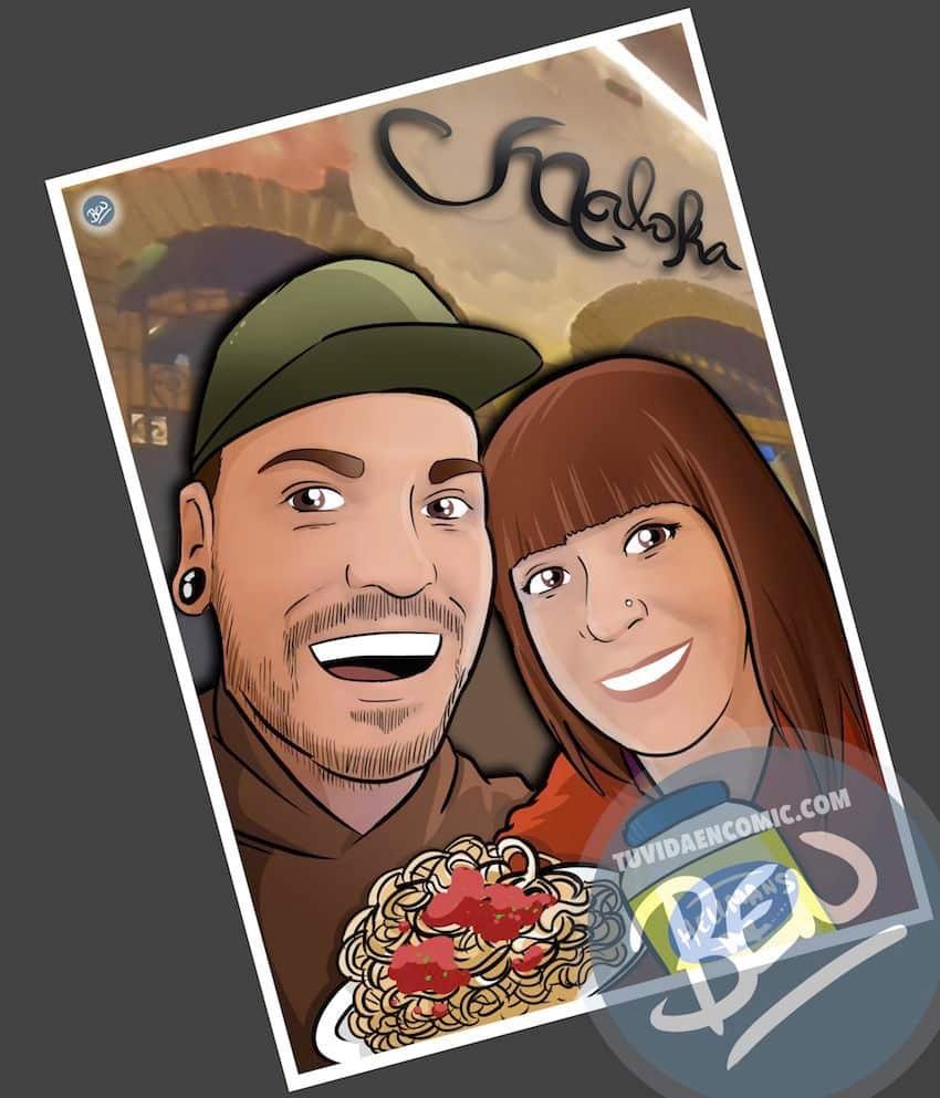 """Composición de Ilustraciones - """"Recordando nuestra vida juntos"""" - Caricatura personalizada - 1"""