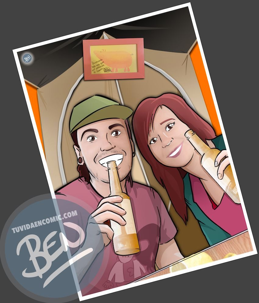 """Composición de Ilustraciones - """"Recordando nuestra vida juntos"""" - Caricatura personalizada - 3"""