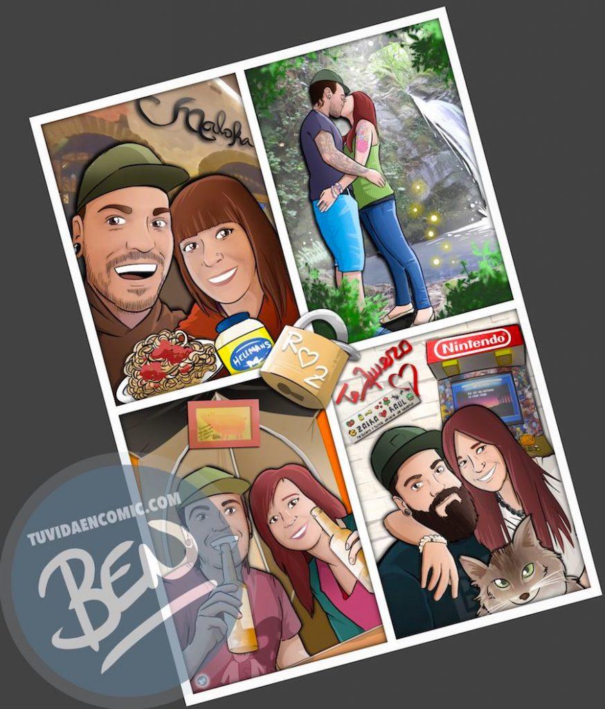 """Composición de Ilustraciones - """"Recordando nuestra vida juntos"""" - Caricatura personalizada - 5"""