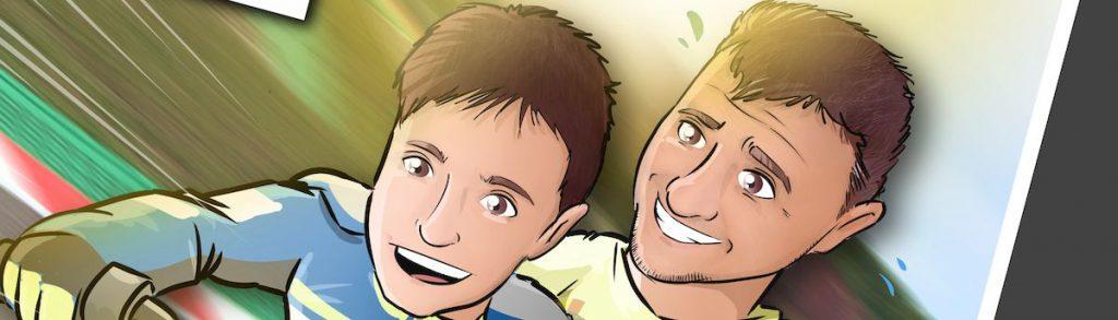 Ilustración personalizada - Padre e hijo sobre ruedas - Caricatura Personalizada - www.tuvidaencomic.com - BEN - 0