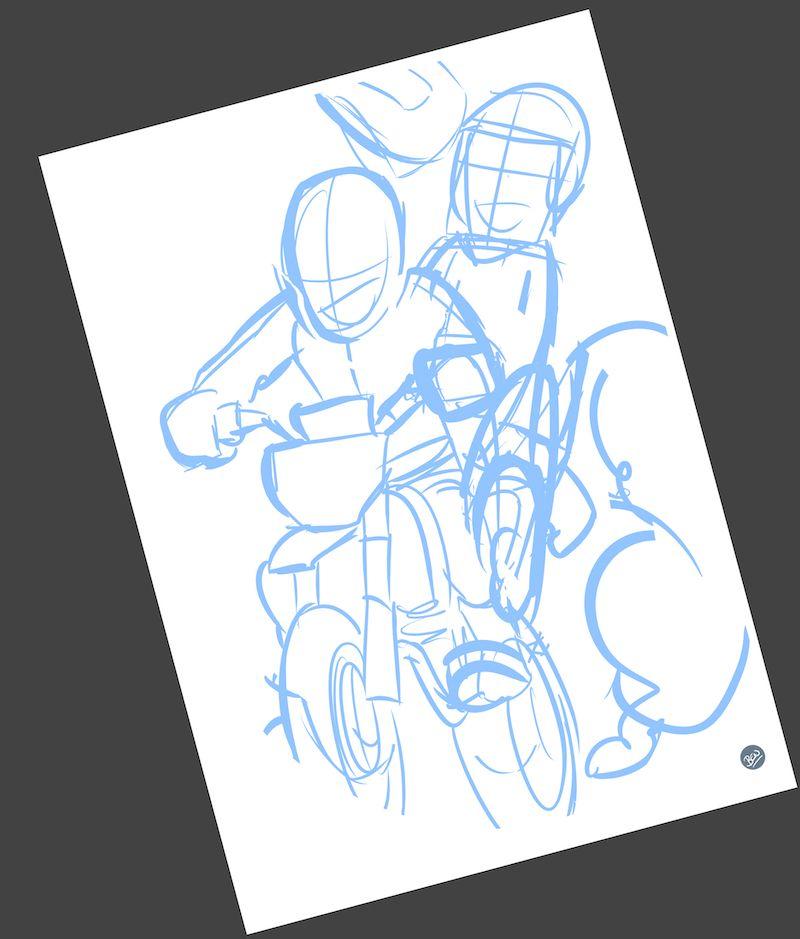 Ilustración personalizada - Padre e hijo sobre ruedas - Caricatura Personalizada - www.tuvidaencomic.com - BEN - 1