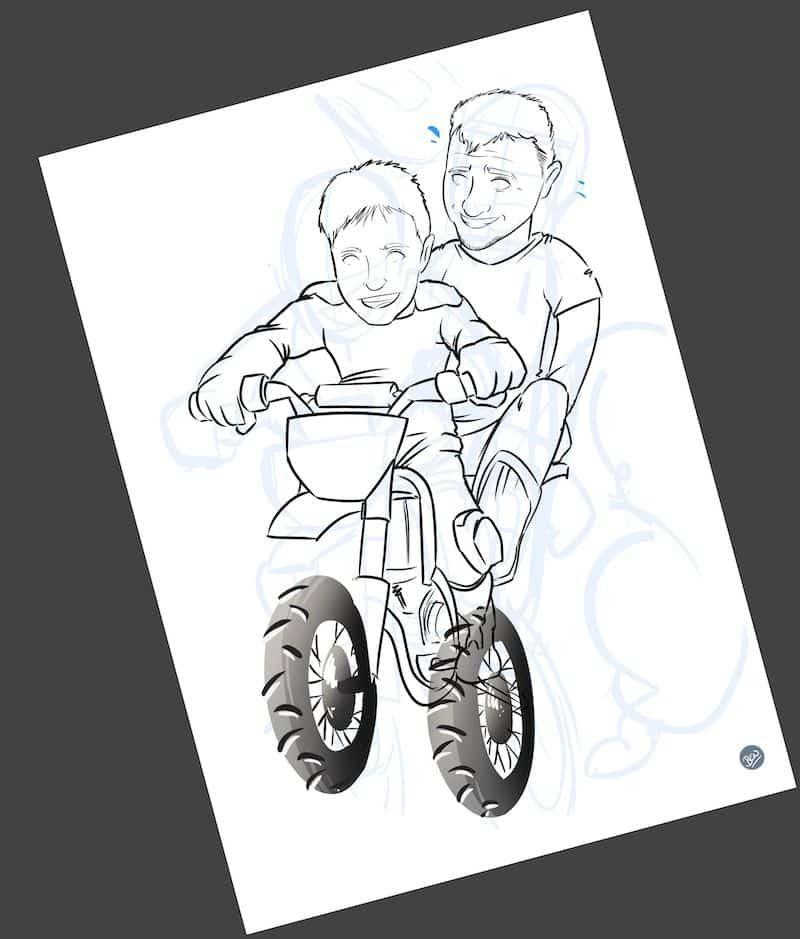 Ilustración personalizada - Padre e hijo sobre ruedas - Caricatura Personalizada - www.tuvidaencomic.com - BEN - 2