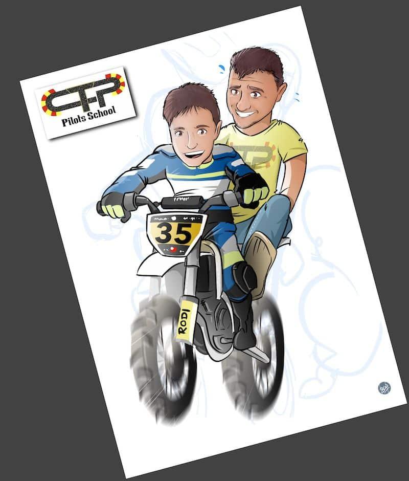 Ilustración personalizada - Padre e hijo sobre ruedas - Caricatura Personalizada - www.tuvidaencomic.com - BEN - 3