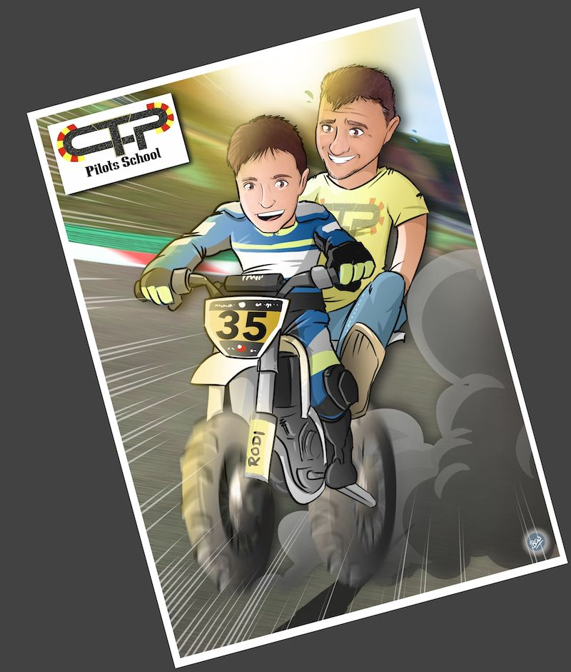 Ilustración personalizada - Padre e hijo sobre ruedas - Caricatura Personalizada - www.tuvidaencomic.com - BEN - 4