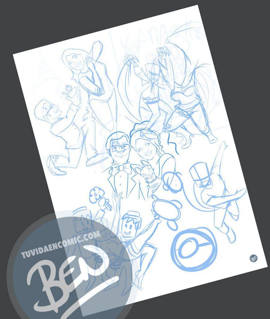 """Composición de Ilustraciones - """"Regalo de boda - Nuestra vida juntos"""" - Caricatura personalizada - www.tuvidaencomic.com - BEN - 1"""