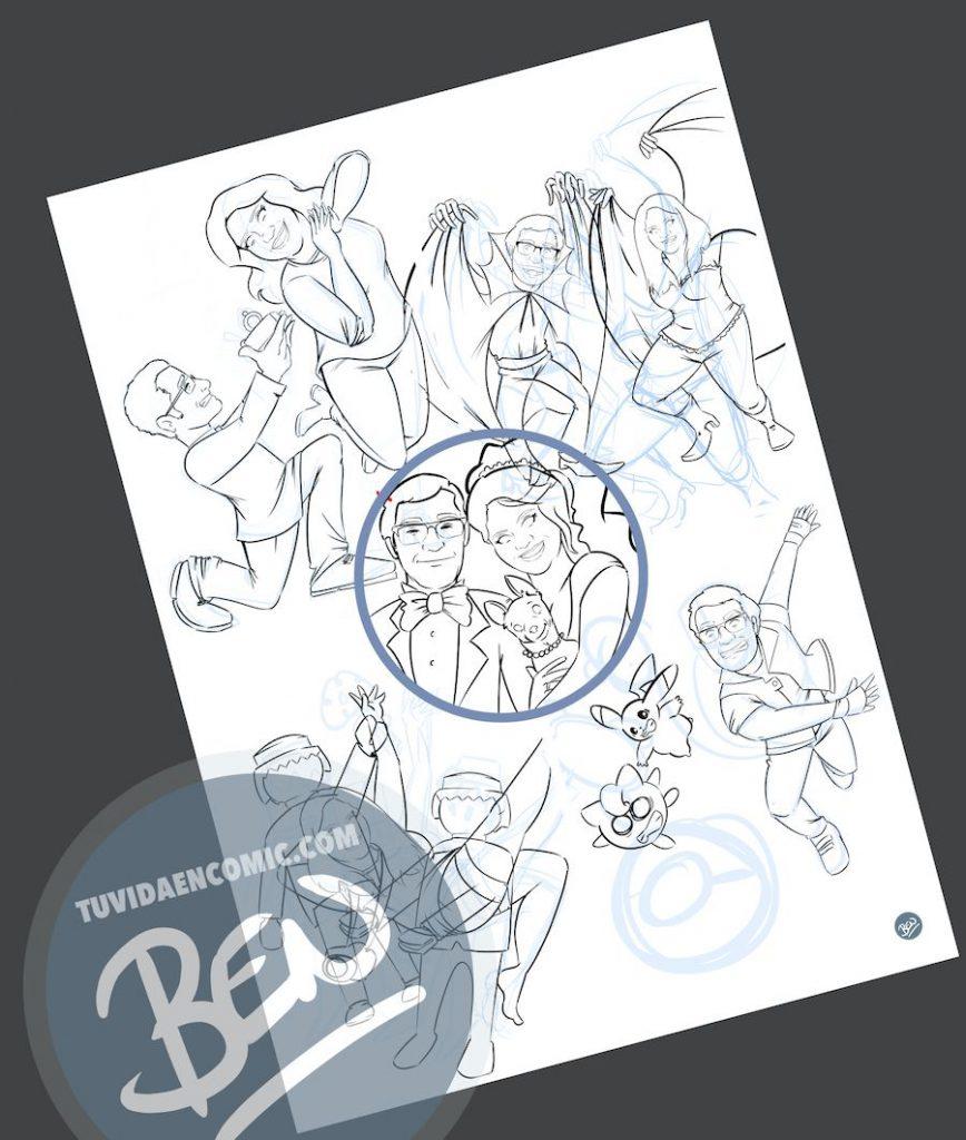 """Composición de Ilustraciones - """"Regalo de boda - Nuestra vida juntos"""" - Caricatura personalizada - www.tuvidaencomic.com - BEN - 2"""
