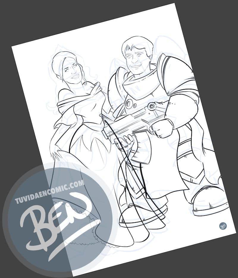 Ilustración personalizada - Princesas y Guerreros - Caricatura personalizada - www.tuvidaencomic.com - BEN - Regalo de boda original - 2