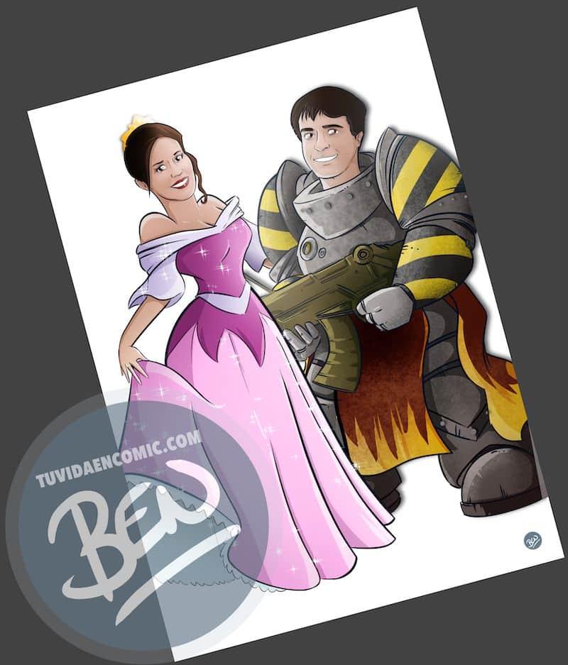 Ilustración personalizada - Princesas y Guerreros - Caricatura personalizada - www.tuvidaencomic.com - BEN - Regalo de boda original - 3