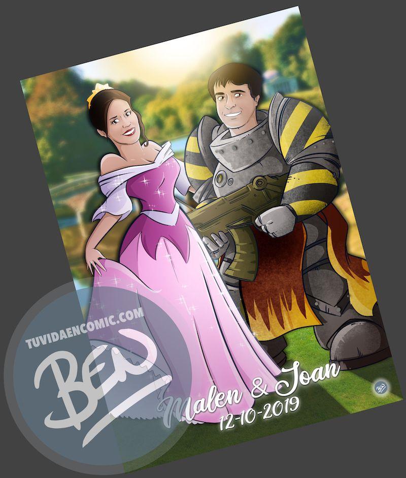 Ilustración personalizada - Princesas y Guerreros - Caricatura personalizada - www.tuvidaencomic.com - BEN - Regalo de boda original - 4