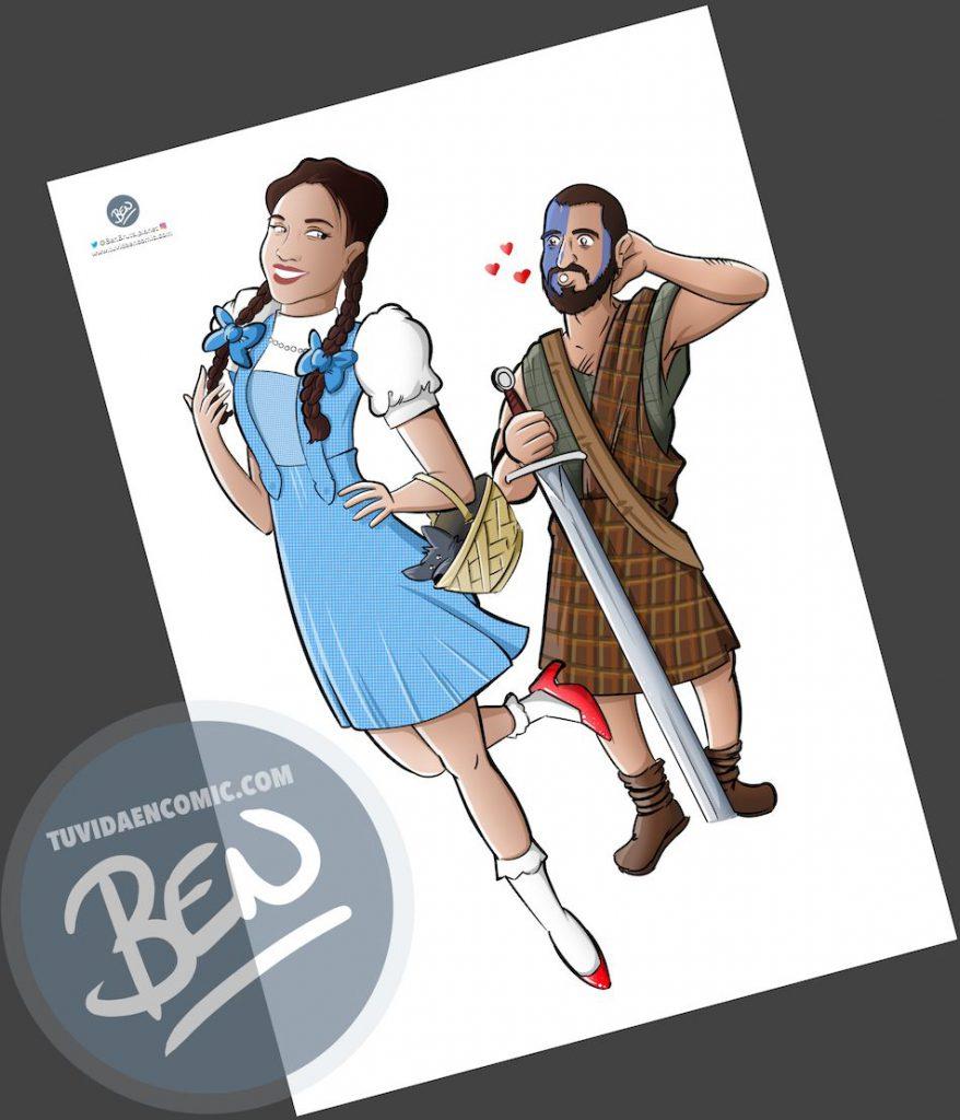 Ilustración para una curiosa pareja - Caricatura personalizada - www.tuvidaencomic.com - Tu Vida en Cómic - Regalo Original - BEN - 3