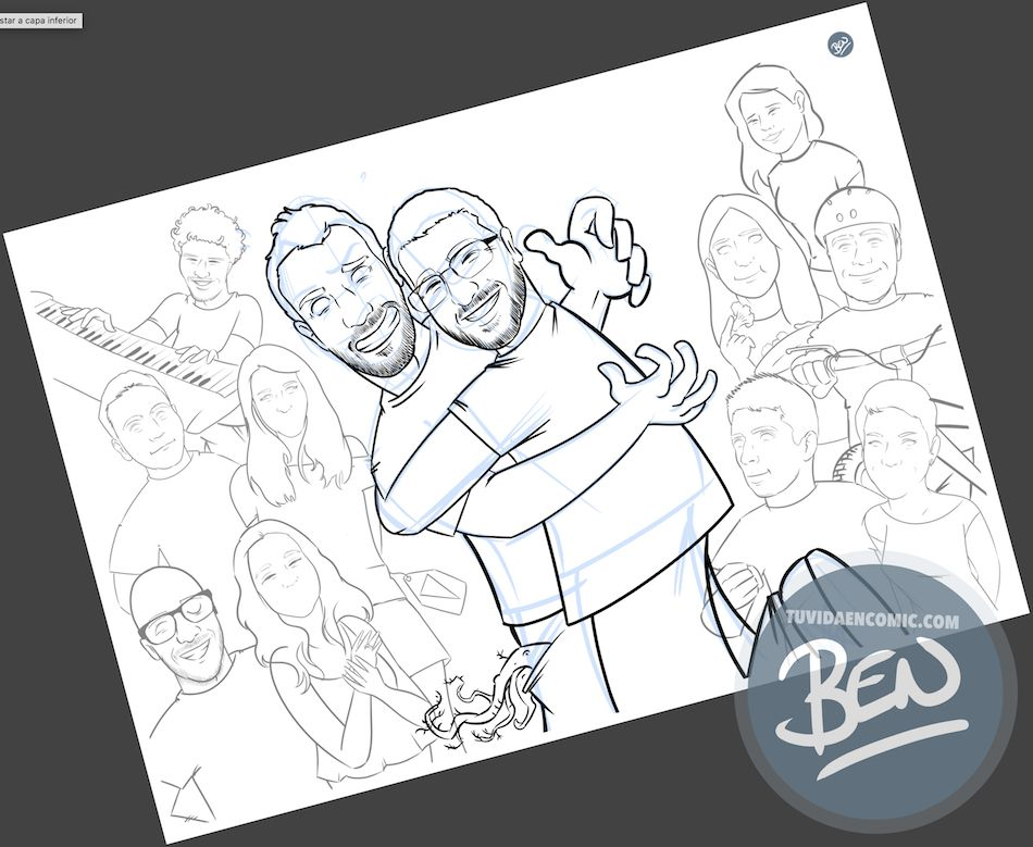 Todos tus amigos en una Caricatura grupal - www.tuvidaencomic.com - BEN - Carcatura personalizada - 2