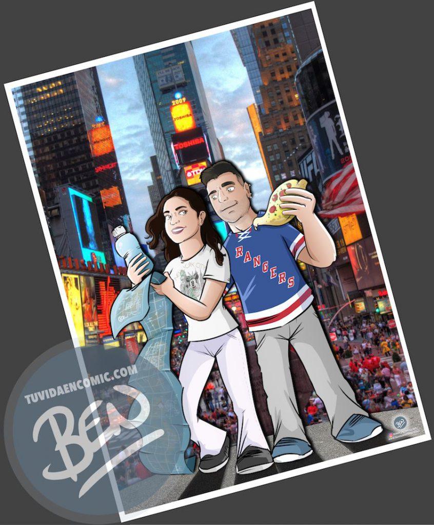 Ilustración - Aventura en Nueva York - caricatura personalizada - www.tuvidaencomic.com - Tu Vida en Cómic - BEN - Regalo original - 4