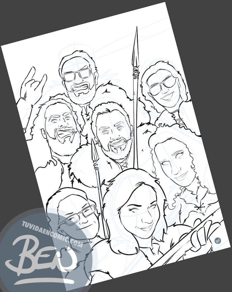 Ilustración Grupal - Amigos que han convertido juntos su vida en cómic - www.tuvidaencomic.com - BEN - Regalo personalizado - 1