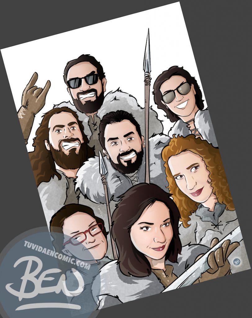 Ilustración Grupal - Amigos que han convertido juntos su vida en cómic - www.tuvidaencomic.com - BEN - Regalo personalizado - 2
