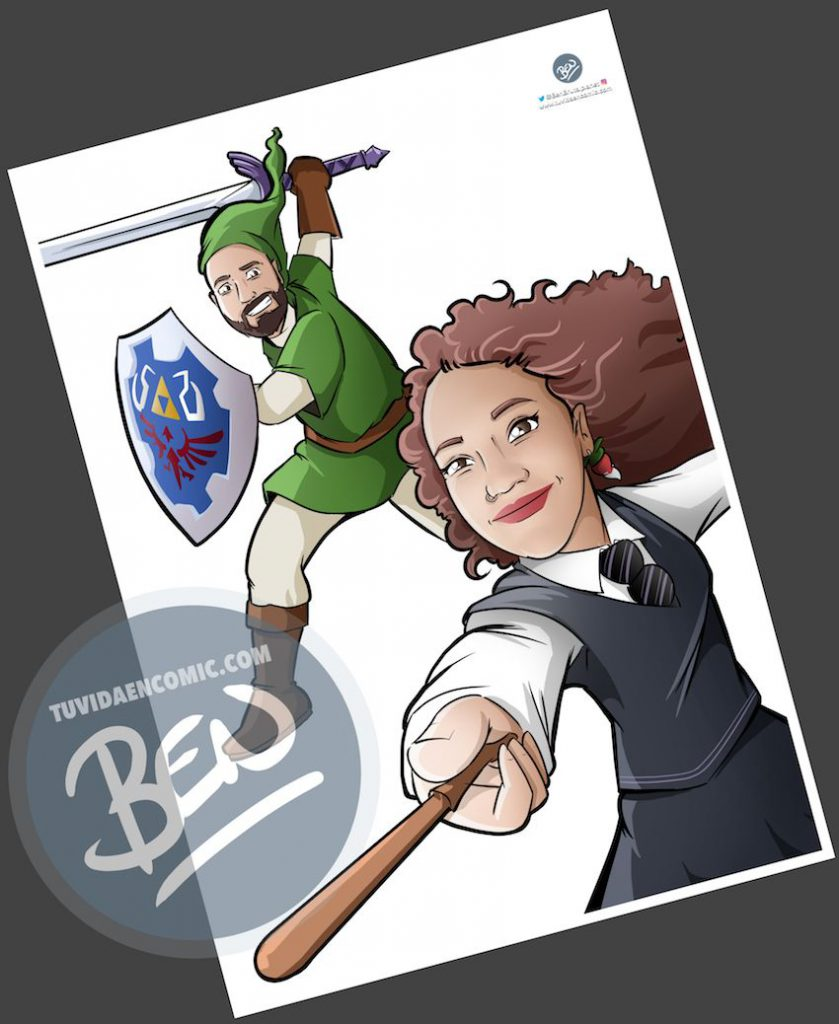 Ilustración - Para fans de Zelda y Harry Potter - Caricatura personalizada - www.tuvidaencomic.com - Regalos originales - Regalos personalizados - 2
