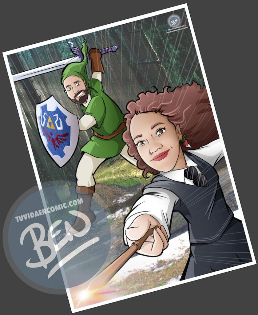 Ilustración - Para fans de Zelda y Harry Potter - Caricatura personalizada - www.tuvidaencomic.com - Regalos originales - Regalos personalizados - 4