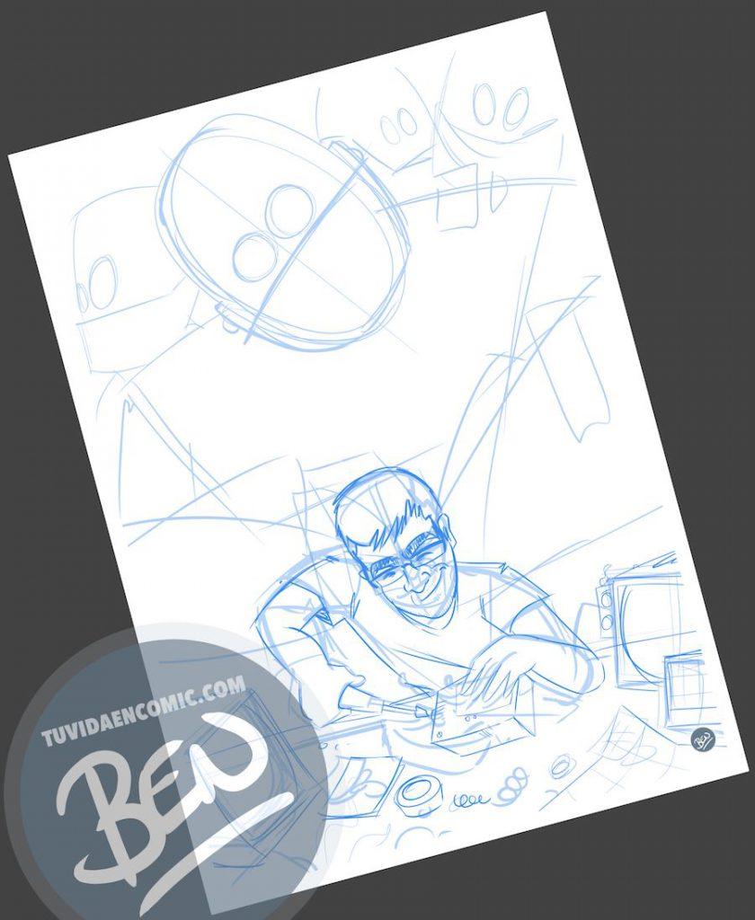 Ilustración para quien pasa la vida entre cables y circuitos - caricatura personalizada - www.tuvidaencomic.com - Tu Vida en Cómic - BEN - Regalo original - 1
