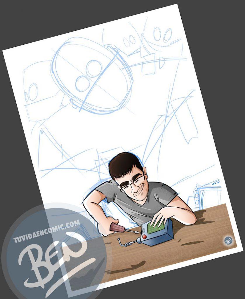 Ilustración para quien pasa la vida entre cables y circuitos - caricatura personalizada - www.tuvidaencomic.com - Tu Vida en Cómic - BEN - Regalo original - 3