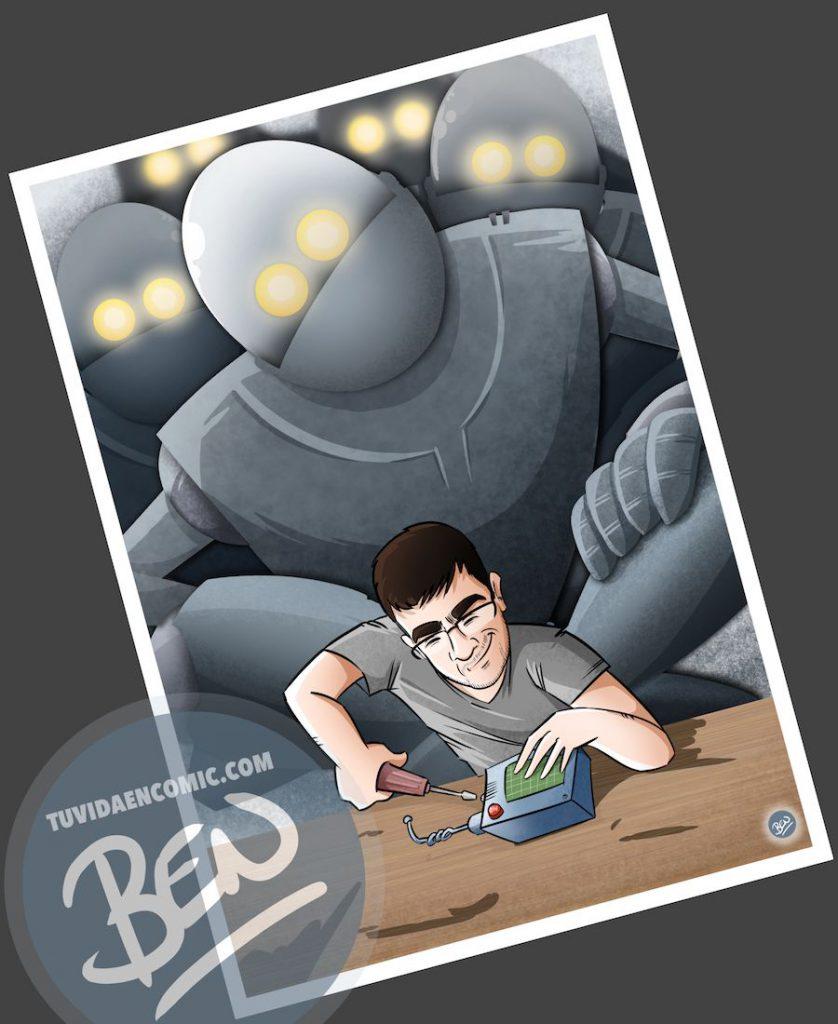 Ilustración para quien pasa la vida entre cables y circuitos - caricatura personalizada - www.tuvidaencomic.com - Tu Vida en Cómic - BEN - Regalo original - 4
