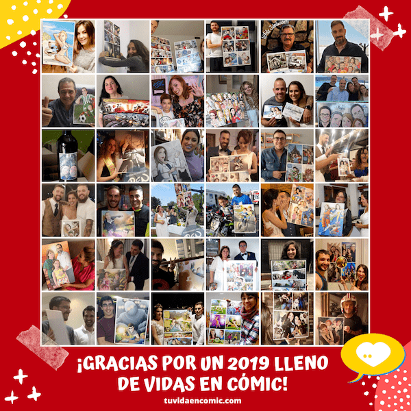 Tu Vida en Cómic - Felicitación Navideña - Feliz 2020 y gracias por un 2019 tan maravilloso - Ilustración - Caricaturas Personalizadas - Clientes satisfechos - BEN - www.tuvidaencomic.com Popup