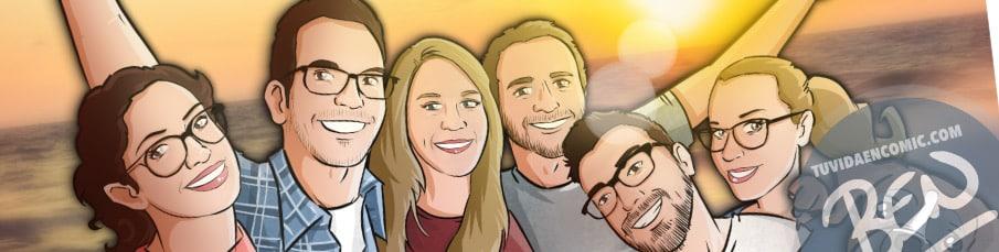 Caricatura de amigos - 9 meses para la boda - Ilustración grupal - tuvidaencomic.com - Tu Vida en Cómic - Regalo Personalizado - BEN - 0