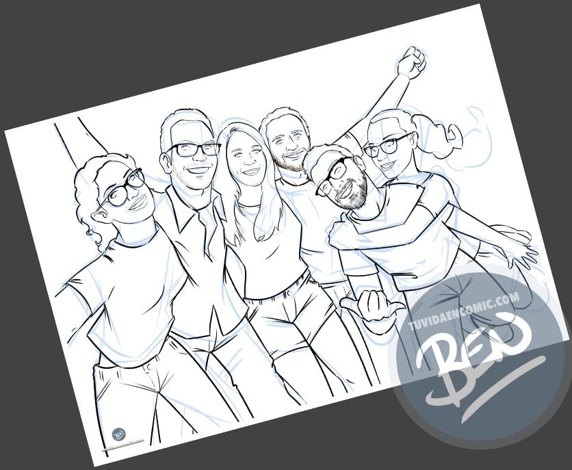 Caricatura de amigos - 9 meses para la boda - Ilustración grupal - tuvidaencomic.com - Tu Vida en Cómic - Regalo Personalizado - BEN - 2