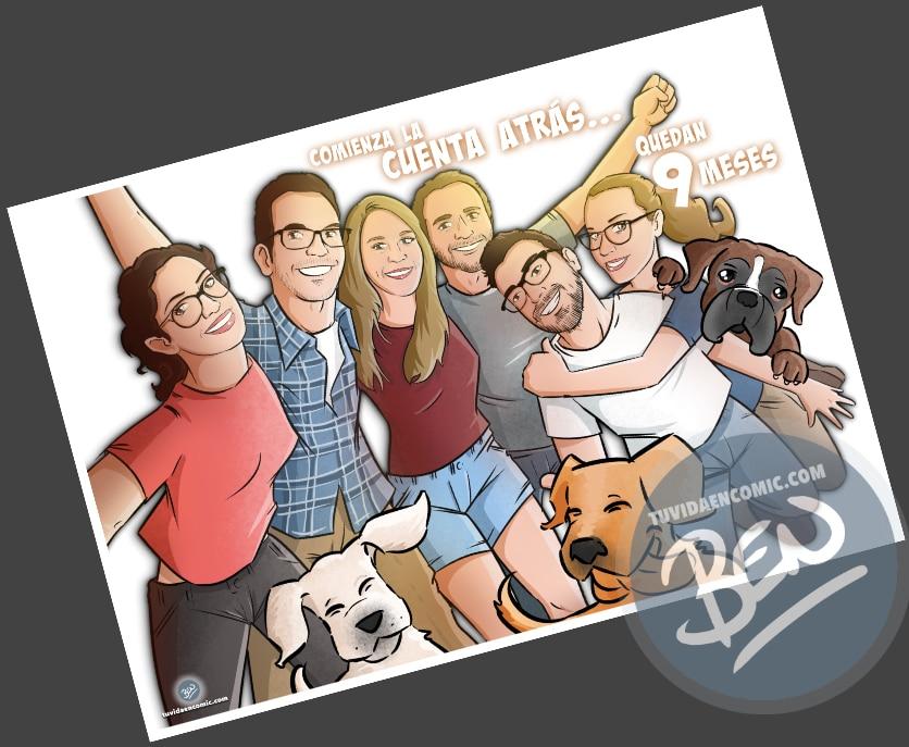 Caricatura de amigos - 9 meses para la boda - Ilustración grupal - tuvidaencomic.com - Tu Vida en Cómic - Regalo Personalizado - BEN - 3