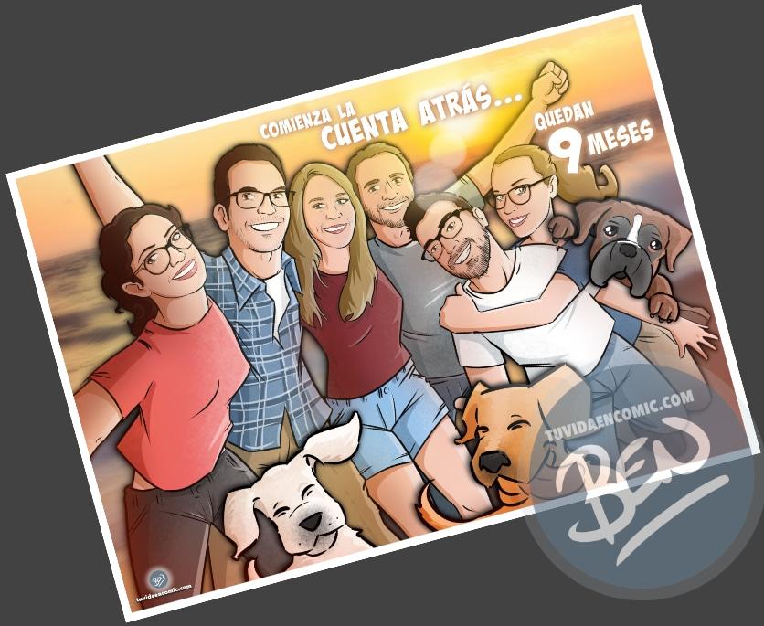 Caricatura de amigos - 9 meses para la boda - Ilustración grupal - tuvidaencomic.com - Tu Vida en Cómic - Regalo Personalizado - BEN - 4