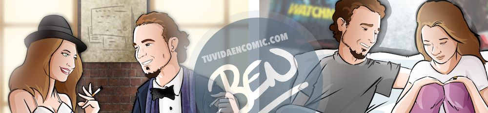 """Composición de ilustraciones """"Así nos conocimos"""" - Regalo romántico personalizado - www.tuvidaencomic.com - Tu Vida en Cómic - BEN - 0"""