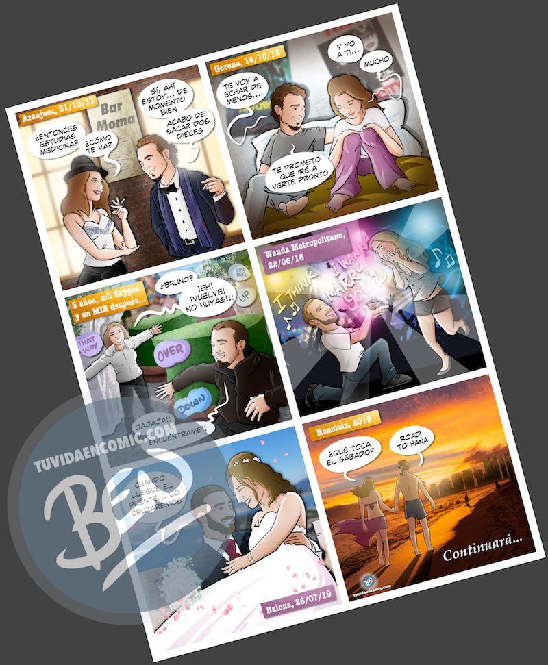 """Composición de ilustraciones """"Así nos conocimos"""" - Regalo romántico personalizado - www.tuvidaencomic.com - Tu Vida en Cómic - BEN - 5"""