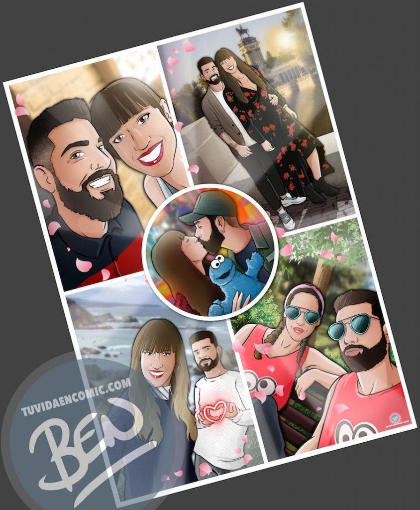 """Composición de ilustraciones """"Nuestra vida juntos en cinco viñetas"""" - Regalo romántico personalizado - www.tuvidaencomic.com - Tu Vida En Cómic - BEN - Cómic personalizado - Regalos personalizados - 2"""