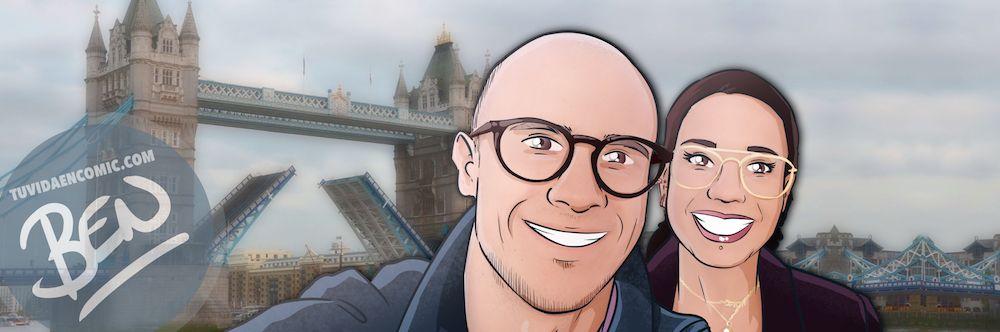 """Composición de ilustraciones """"Siempre nos quedara Londres"""" - Regalo romántico personalizado - Tu Vida en Cómic - www.tuvidaencomic.com - BEN - Regalos Personalizados - 1"""