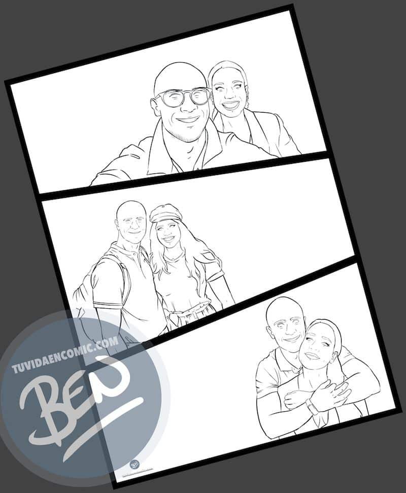"""Composición de ilustraciones """"Siempre nos quedara Londres"""" - Regalo romántico personalizado - Tu Vida en Cómic - www.tuvidaencomic.com - BEN - Regalos Personalizados - 2"""