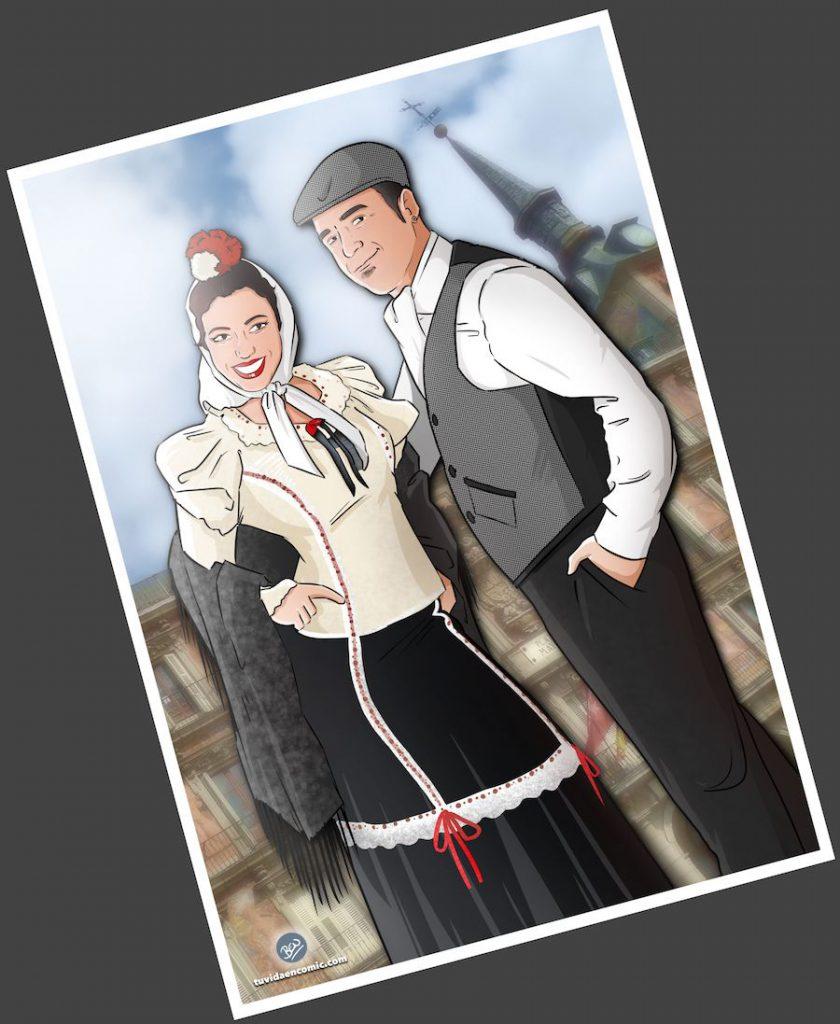 """Composición de ilustraciones """"Cosas que nos unieron"""" - Regalo romántico personalizado - regalos personalizados - www.tuvidaencomic.com - BEN - Caricaturas personalizadas - 3"""