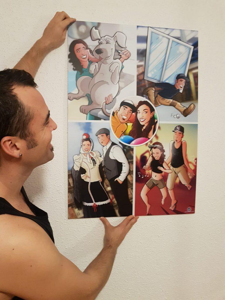 """Composición de ilustraciones """"Cosas que nos unieron"""" - Regalo romántico personalizado - regalos personalizados - www.tuvidaencomic.com - BEN - Caricaturas personalizadas - testimonio 1"""